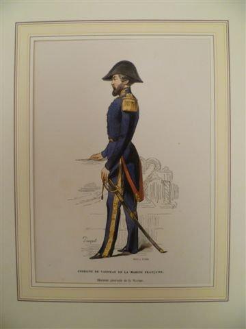 Enseigne de vaisseau de la marine francaise. Histoire générale de la Marine. Lithographie v. 1844....