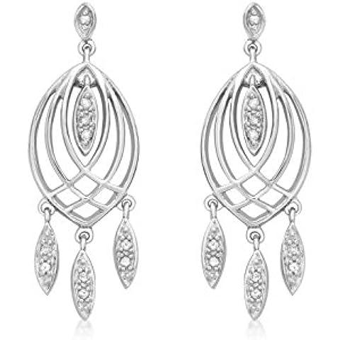 9ct oro bianco diamante lampadario orecchini