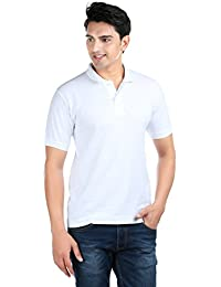 ILLUSTRE White Solid Polo Neck Men's T-Shirt