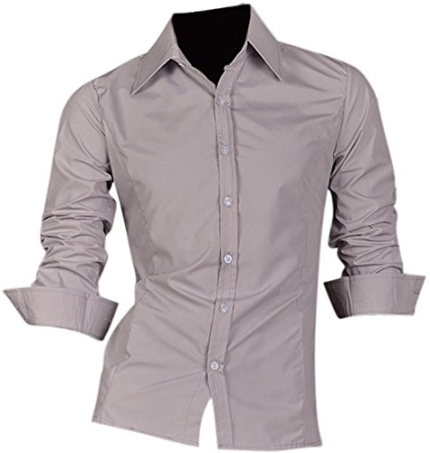 jeansian Homme Chemises Casual Shirt Tops Mode Men Slim Fit Z008 LightGray