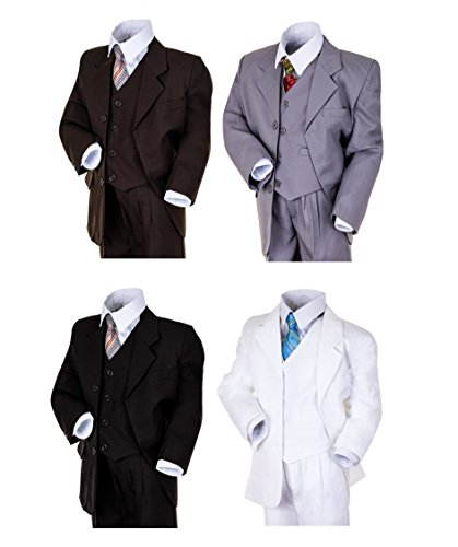 """Kinder Anzug """"Paul"""" klassisch-elegant in 4 Farben! 5-tlg.Anzug in Schwarz, Grau, Braun und Weiß! Sakko, Weste, Hose, Hemd u. Krawatte! (Gr. (06) - 116, weiß)"""