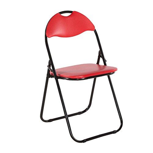 Klappstuhl 2er Set rot gepolstert Gästestuhl Camping Stuhl Metall ...