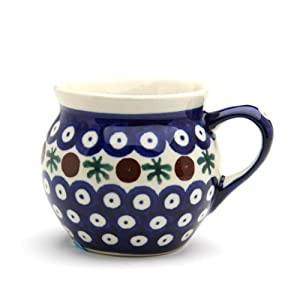 Polish Pottery Boleslawiec Mug, Small, Round, 0.22L in RED DOT pattern