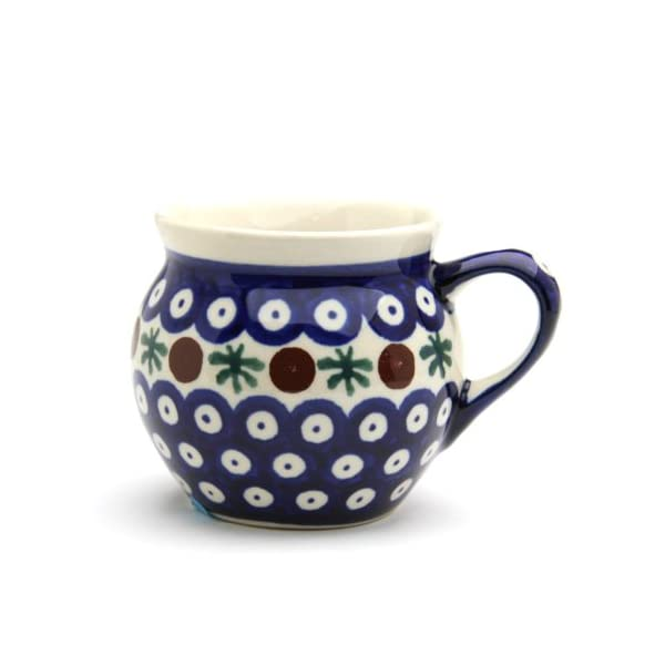Polish Pottery Boleslawiec Mug, Small, Round, 0.22L in RED DOT pattern