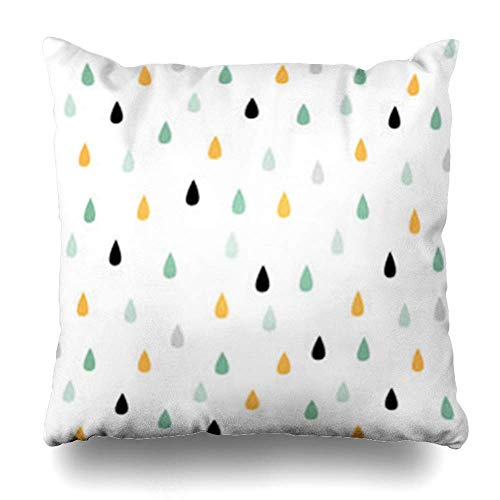 Zierkissenbezüge, Throw Pillow Covers, Delicate Green Geometric Rain Drops Cute Pattern in Mint Simple Yellow Gray Black Abstract White Pillowcase Square Size 18 x 18 Inches Home Decor Cushion Cases -