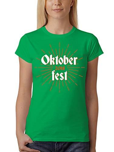 clothinx Damen T-Shirt Fit Oktoberfest 2018 Retro Sun -
