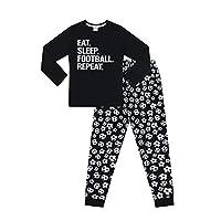 The Pyjama Factory Boys Eat Sleep Football Repeat Long Cotton Pyjamas (11-12 Years) Black