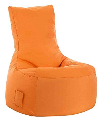 lifestyle4living Sitzsack für draußen in Orange aus wasserabweisendem Microfaserstoff   Bequemer Indoor/Outdoor Sitzsackstuhl mit Tasche, 300 l