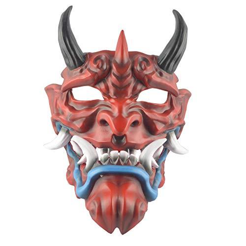 TLWR Maske Halloween Harz kleine Gesichtszähne Maske Ornament Ornamente Geeignet für Halloween Maskerade Cosplay Party 23,5 * 31 cm Rot