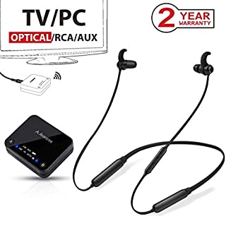 2019 Avantree HT4186 Wireless Neckband Headphones Earbuds for TV Watching & PC with Bluetooth Transmitter SET, For OPTICAL DIGITAL Audio, RCA, 3.5mm AUX Ported TVs, Plug & Play, No Delay, Long Range