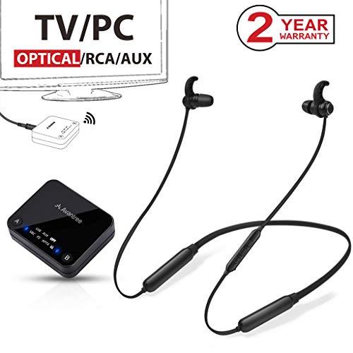 2019 Avantree HT4186 Wireless Nackenbügel Kopfhörer für TV & PC mit Bluetooth Transmitter Set, Unterstützt Optisch, RCA, 3.5mm AUX, PC USB Audio, Plug & Play, 30m HOHE REICHWEITE, 20 Std. Akku