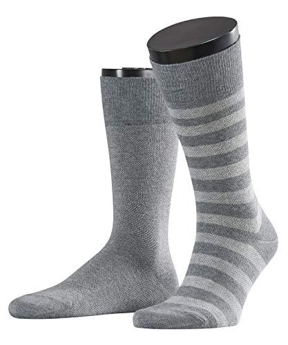 ESPRIT Herren Piqué Stripe 2p Socken Herrensocken, Blickdicht, Grau (Light Grey Mel. 3390), 43/46 (Herstellergröße: 43-46) (2er Pack)