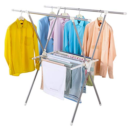 Wäscheständer mit faltbarem \'X\' Typ Edelstahl Wäscheständer Wäscheleine Versenkbarer Wäscheständer 94~150cm Kleiderbügel Trocken Handtuchhalter für drinnen oder draußen max. Laden Sie 100 kg