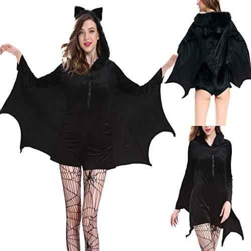 XINAINI Vampir-FledermausflüGel,Damen Vampir Fledermaus KostüM Halloween Karneval Fasching Fastnacht Cosplay, Overall MäDchen Frau Familie Party Schwarz