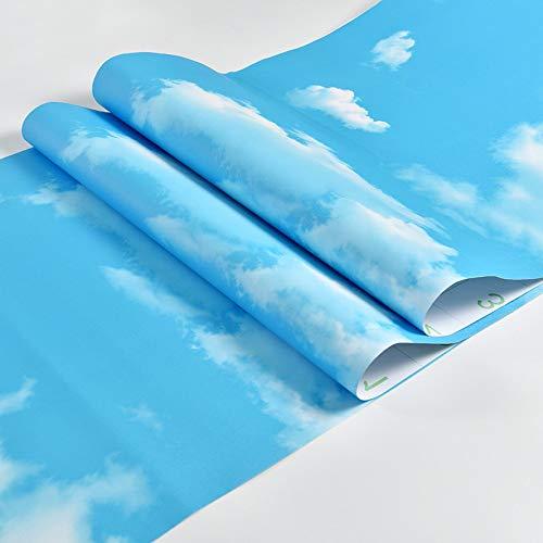 AdorabPaper Fondo De Pantalla Autoadhesiva Cielo Azul Nubes Blancas Agua Fondos De Escritorio Sala De Estar Telón De Fondo 3D Vinilos Decorativos Tridimensionales Azul 60cm X 200cm (23.6in X 78.7in)