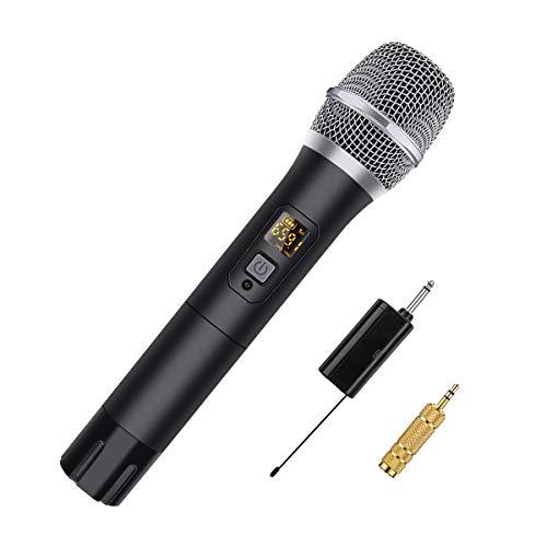 NASUM Microphone Dynamique UHF 48 Canaux Professionnel sans Fil, Micro Portable à Main Rechargeable avec Récepteur et Adaptateur, pour Conférence Karaoké Soirée Maison Réunion Mariage Église