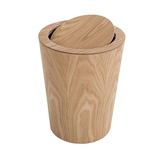 Nordischen Stil Mülleimer Holz Material Mülleimer Flip Runde Indoor Mülleimer Wohnzimmer Schlafzimmer Mülleimer Mülleimer Büro Home Bad Papierkorb (Color : B) (Holz-küche-mülleimer)