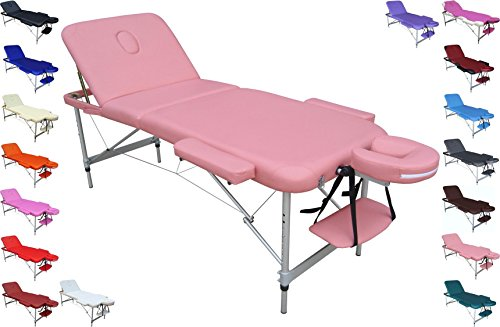 Bett mit Klappfunktion leicht mit Tasche, Struktur Aluminium, ideal für Massagen, Drehstuhl Arbeitshocker Kosmetikstuhl, Physiotherapie, Haarentfernung, Maniküre und Pediküre, Tattoo, Arzt ()