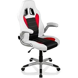 RACEMASTER Racing Bürostuhl GT Series Gaming Chair Gamer Stuhl klappbare Armlehnen Schreibtischstuhl Wippmechanik Drehstuhl 25 Farbvarianten Weiß/Schwarz/Rot