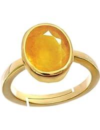 Yellow Sapphire Pukhraj 3.9 Ct. Or 4.25Ratti Stone Panchdhatu Adjustable Ring For Men By AKSHAY GEMS