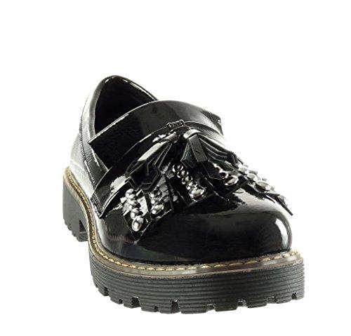 Angkorly Chaussure Mode Mocassin Slip-On Femme Clouté Frange Brillant Talon Haut Bloc 3.5 CM Noir