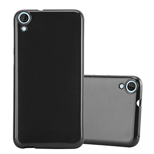 Cadorabo Hülle für HTC Desire 820 - Hülle in SCHWARZ – Handyhülle aus TPU Silikon in gebürsteter Edelstahloptik (Brushed) Silikonhülle Schutzhülle Soft Back Cover Case Bumper