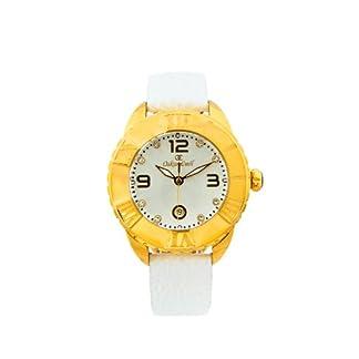 Oskar Emil Celine G – Reloj analógico de cuarzo para mujer, correa de cuero color blanco