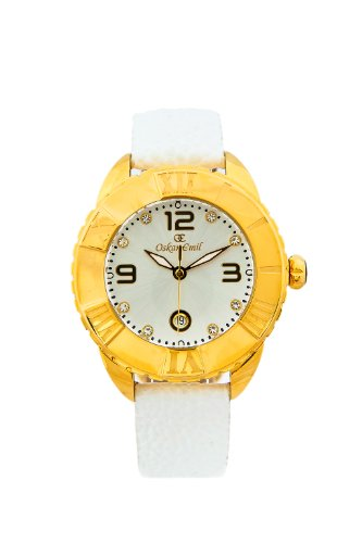 Oskar Emil Celine Gold Ip Plated Watch for Ladies with Crystals Silver Dial Analogue Display and White Leather Strap Celine G