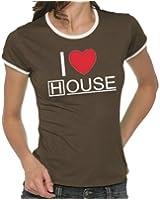 Touchlines Girlie Ringer T-Shirt I Love House