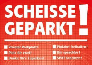 easydruck24 Notizblock Scheiße geparkt!, für die Windschutzscheibe, rot, Block à 50 Blatt, DIN A7, mehrere Auswahlmöglichkeiten zum Ankreuzen, Verkehrssünder, Verkehrsrowdys, Parksünder (1)