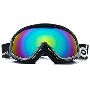 Odoland Große Rahmenlose Sphärische Skibrille für Männer und Frauen, S2 (Over The Glass BZW. für Brillenträger) Dual Gläser für Skifahren, Snowboarden, Snowmobile, UV400 Schutz & Anti-Beschlag