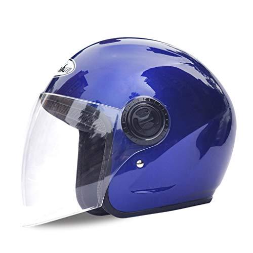 JIE KE Helm Männliche Elektroauto Weibliche Schutzhelm Batterie Warme Sonnencreme Winter Halb bedeckten Frühling Und Herbst Halb Helm Anti-Fog Agent (Farbe : Blau)