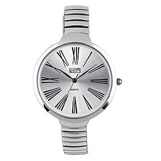 Eton señoras Silvertone Dial, ampliable pulsera correa vestido reloj 3221j