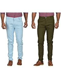 Kushsection Sky Blue Trousers & Green Trousers Cotton Trousers Combo Solid Trousers F11S14 (Pack Of 2 Casual Trousers)