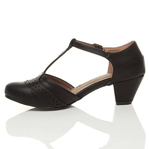Damen Mitte Blockabsatz T-Riemen Ausgeschnitten Brogues Pumps Sandalen Größe 5 38 - 4