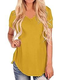 Camisetas Manga Corta Mujer Camiseta Escote V Chica Basicas Personalizadas Verano Playeras Anchas Mujer Camisas Señora