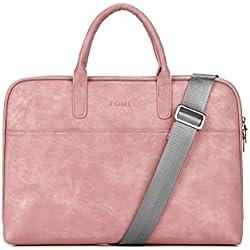 Zetiy 15-15,6 Zoll PU Leder Laptoptasche Notebooktasche Messenger Bag Umhängetasche Aktentasche Laptop Tasche Hülle Sleeve Case Rosa