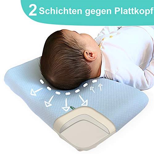ANURI® | Babykissen gegen Plattkopf und Kopfverformung I 2-SCHICHTEN Protect System | Baby-Kopfkissen aus Anti-Allergen Memory Schaum | 0-24 Monate | 2 Kopfkissenbezüge | Himmelblau - Pillow-top-schaum