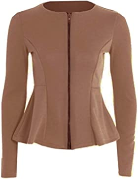 Janisramone mujeres Volante de zip llano peplum adaptado chaqueta chaqueta capa 8-24