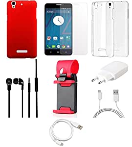 NIROSHA Tempered Glass Screen Guard Cover Case Charger Headphone USB Cable Mobile Holder car Combo for YU Yureka Combo