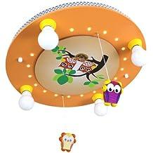 Elobra bambini Lampada da soffitto gufi famiglia con mobile PLAFONIERA cameretta in legno con luce notturna led, colore: salmone 128237