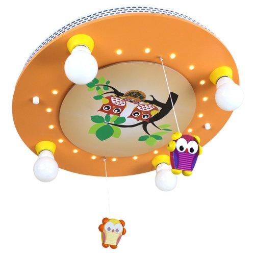 Lámpara de techo diseño de familia de búhos con móvil de salmón