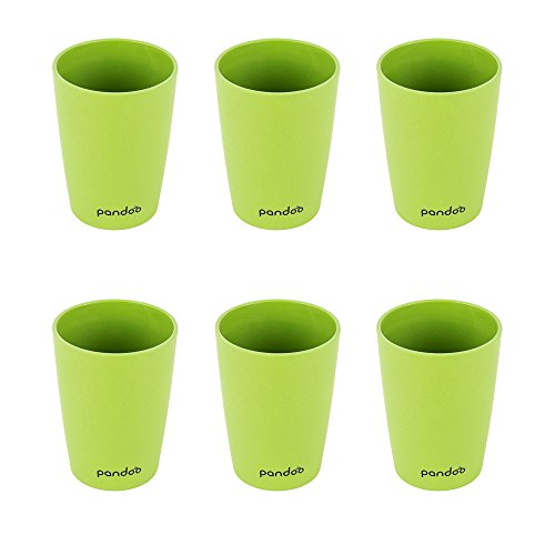 pandoo Bambus Trinkbecher 6er-Set - BPA-frei & lebensmittelecht – Picknick & Camping Geschirr