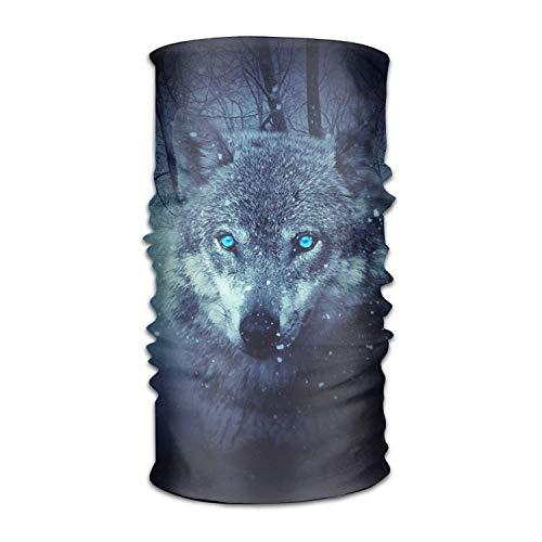 dfhdshsd Wild Wolf Blue Eyes Scary Snowfall Winter Headwear Bandanas Seamless Headscarf Outdoor Sport Headdress Running Riding Skiing Hiking Headbands
