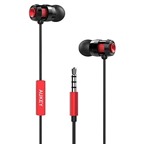 AUKEY Auricolare In Ear Stereo Universale, Cuffie Moving coil Headset con Microfono, Design avanzato per Enhanced Bass (Bassi Rafforzati) in Riduzione del rumore (Rosso)