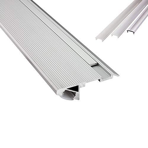 B-WARE - T-STA 30° LED Alu Treppenprofil Treppenwinkel Profil Stufen silber + Abdeckung Abschlussleiste Fliesen für LED-Streifen-Strip 2m opal
