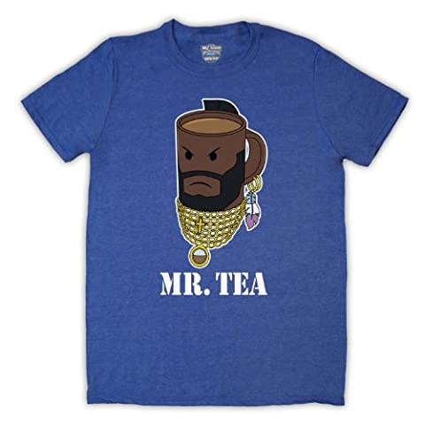 Mr Tea Graphic Illustration Mens T-Shirt, Vintage Blue,