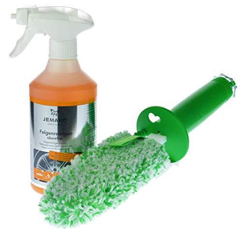 Jemako Felgenreiniger-Set,CleanStick Plus 15 cm, grüne Faser,Felgenreiniger, 500 ml-Nachkaufflasche,Schaumpumpe für 500 ml-Flasche, weiß,Klickbox (20 x 20 x 8 cm), leer