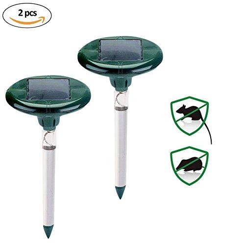 Répulsif de taupe de mole actionné solaire de 2PCS avec le piquet Sonic antiparasitaire de LED, efface des taupes, des campagnols, des gaufres et des rats pour le verger de jardin