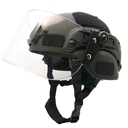 WLXW Airsoft Paintball Taktischer Helm, MICH2000 Army Combat Fast Helm, Mit Sonnenschutzbrille Für Die CS-Kriegsjagd, Schießschutzausrüstung,Black
